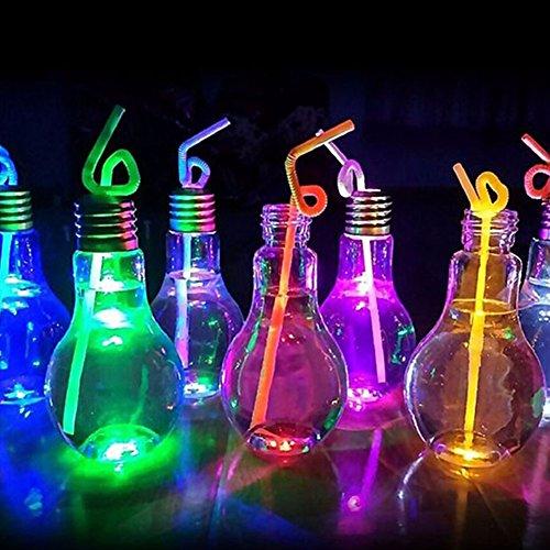 5PCS Clear Plastic Light Bulb Shaped Bottles Party Favors with Sealing Caps and Metal Straw Caps, Bottom Glowing, 500ml