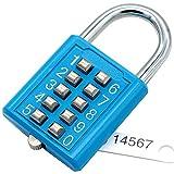 MIONI 10 Digit Push Button Zahlenschloss, 5-stelliger Schließmechanismus, blau