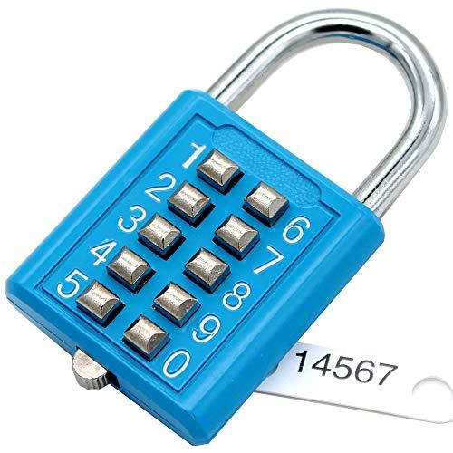 MIONI 10 Digit Push Button Combination Padlock, 5 Digit Locking Mechanism,blue