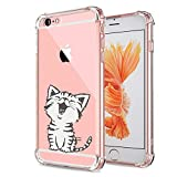 iPhone 6S Case, Ultra Transparent Thin Slim Gel Soft TPU Bumper Shockproof Cute Funny Cases Crystal Clear with design Cartoon Cat Animal Print Protective Cover for Apple iPhone 6 4.7 Inch (Cat Little)