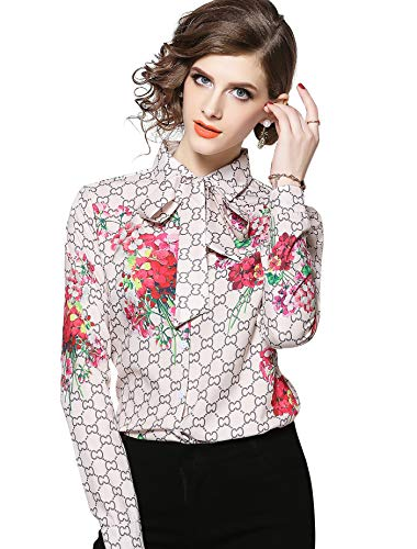 Women's Paisley Print Tie Neck Shirt Regular Fit Long Sleeve Blouse Tops Beige