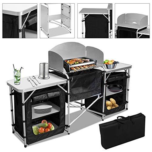 VINGO Campingküche | Campingschrank | Klappschrank | mit Aluminiumgestell | Reiseküche | Küchenbox | Zeltschrank | Outdoor Camping Küche | Modelle wählbar | Ink. Tragetasche