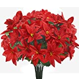 Shiny Flower 6 Pack Red Artificial Poinsettia Bushes Silk Artificial Poinsettia Bouquet for Home Garden Indoor Outdoor Christmas Decorations 14.6''