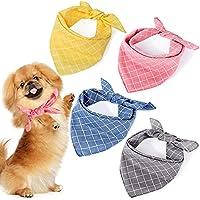 4-Pieces Washable Triangle Dog Bandanas (Plaid)