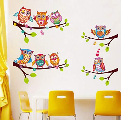 YiyiLai Mural Autocollant Amovible Stickers Muraux D/écoration Salon Chambre Enfant Hibou Animaux Violet