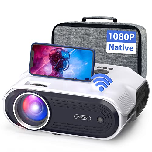 VIDOKA Native 1080P Wifi Projector, 8000L Full HD Video Projector for Home & Outdoor Use, 300 Display & Zoom Movie Projector with Hifi Stereo, Sleep Timer, Compatible with Phone, PC/TV Stick/PS4