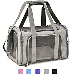 Henkelion Cat Carriers Dog Carrier Pet Carrier for Small Medium Cats Dogs Puppies up to 15 Lbs, TSA Airline Approved Small Dog Carrier Soft Sided, Collapsible Waterproof Travel Puppy Carrier – Grey
