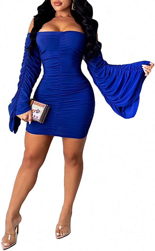 Ophestin Women Sexy Off The Shoulder Ruffle Bell Long Sleeve Ruched Bodycon Tight Party Short Mini Dress