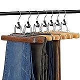 AMKUFO 12 Pack Wooden Pants Hangers with Clips Non Slip Skirt Hangers Walnut Trouser Clamp Hanger Solid Wood Hanger with 360° Swivel Hook