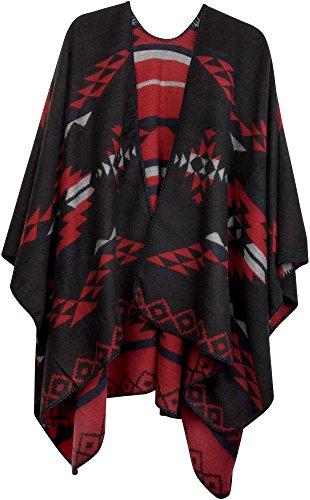 styleBREAKER Poncho mit Azteken Muster, Umhang, Überwurf Cape, Wendeponcho, Damen 08010012, Farbe:Schwarz-Rot