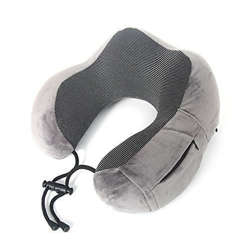 Sección de actualización con Espuma de Memoria Cremallera en Forma de U Almohada avión Almohada for el Cuello del Recorrido Almohada para apoyar el Cuello en Cualquier posición sentad (Color : Grey)