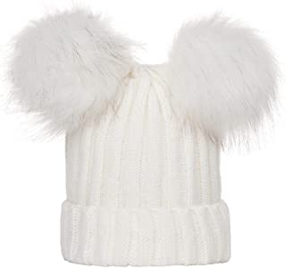 Smallrabbit Womens Winter Hats Girls Cute Double Fur Ball Pompom Warm Ribbed Knit Beanie Cap Hat (White)
