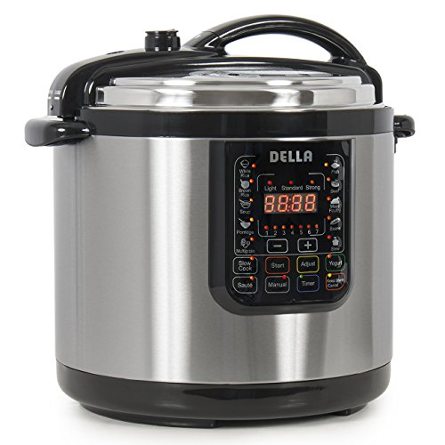 Della 10-in-1 Multi-Function Electric Pressure Cooker Stainless Steel, Programmable 10-QT Countertop...