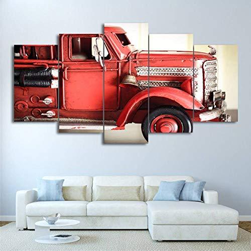 WOKCL Canvas Schilderij Foto's Voor Woonkamer Schilderen 5 Stuks/Stks Rode Voertuig Motor Vuur Auto Fotobehang Decoratieve Print HD Poster Canvas