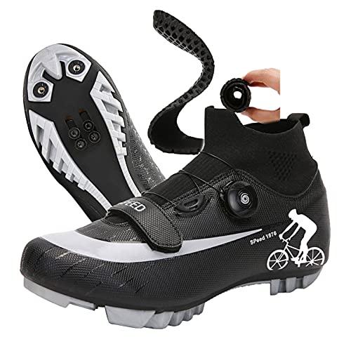 DSMGLRBGZ Zapatilla de Ciclismo, (36-47) Boca de Zapato Elástica con Hebilla de Zapato Giratoria, Impermeable Suela de Nailon, Zapatillas de Hombre de Bicicleta de Carretera,Negro,36