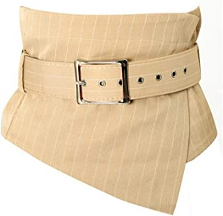LUKEEXIN Women Lattice Stripes Waist Belt Retro Skinny and Widened Waistband (Color : Aprikosen, Size : 80-100cm)