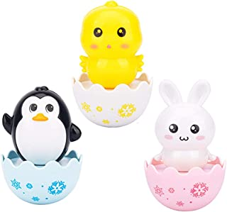 LuDa 3pcs Cute Baby Tumbler Roly Poly Toy for Boys Girls 3+ Months Animal Figures
