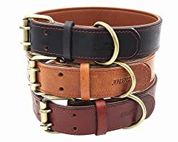 Moonpet Soft Padded Real Genuine Leather Dog Collar - Best Full Grain Heavy Duty Dog Collar - Durable Strong Adjustable for Small Medium Large X-Large Male Female Dogs Walking Running Training