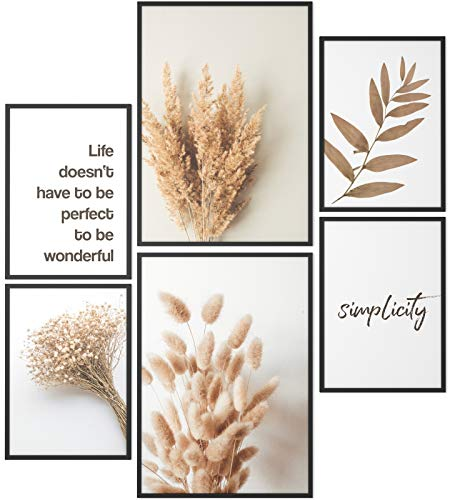 Papierschmiede® Mood-Poster Set Getreide | 6 Bilder als stilvolle Wanddeko | 2X DIN A4 und 4X DIN A5 | Ähren Korn Gerste Simplicity - ohne Rahmen