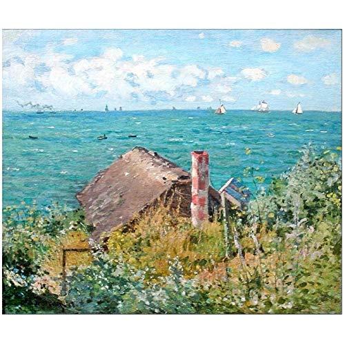 Póster artístico de Claude Monet The Cabin at Saint-Adresse, pintura en lienzo, decoración del hogar, póster de alta definición, sala de estar, 24x36 pulgadas, sin marco