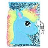 Ysoazgle Magic Diary for Girls Lovely Unicorn Fluffy Notebook 164 páginas para escribir y dibujar regalos de cumpleaños y Navidad para niñas