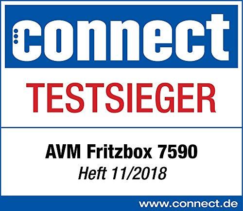 AVM FRITZ! Box 7590 WLAN AC+N Router (DSL/VDSL,1.733 MBit/s (5GHz) & 800 MBit/s (2,4 GHz), bis zu 300 MBit/s mit VDSL-Supervectoring 35b, WLAN Mesh, DECT-Basis, Media Server, geeignet für Deutschland)