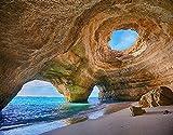 Kits de pintura de diamante 5D DIY,Algarve Caves Portugal Small Beach Big C, diamantes de imitación de cristal redondo de taladro completo para decoración de la pared del hogar 12'X16'