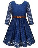 Girls Formal Dress Lace Flower Girl Navy Blue Dresses for 8 Years Wedding Birthday Dance Holiday Celebration Girls Gift A-Line Long Dresses Flower Dresses for Girls (Size 8-9 Years)=LS Navy Blue-160