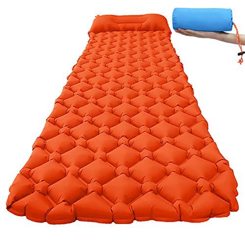 Camping Isomatte, Wasserdicht und Feuchtigkeitsfest Aufblasbare Rollmatratze mit Kissen, Ultraleichte Isomatte für Rucksackreisen, Camping, Wandern (Orange)