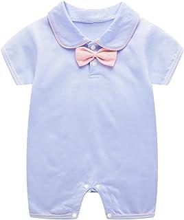 الوليد الطفل بنين بنات الرسمي ربطة طوق القصير قصيرة الأكمام البدلة ارتداءها بذلة 0-12 أشهر (Color : Blue, Size : 59CM)