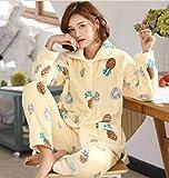 ZHRDRJB Conjunto De Pijamas para Mujeres,Invierno Amarillo Piña Coral Polar Pijama Conjunto Thicken Warm Suave Franela Homewear Ropa De Dormir Manga Larga Cárdigan Más Tamaño Pyjamas Sets Women,XL