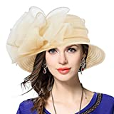 VECRY Señora Oaks Derby Iglesia Vestido Sombrero Bucket Boda Bowler Sombreros (Albaricoque)