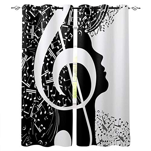 GGYDKA Christmas Blackout Curtains Musical Note 170X200Cm 3D Santa Claus Decor Gift Girl Farmhouse Patterns Microfiber Fabric Eyelet Blackout Curtains For Living Room Bedroom.
