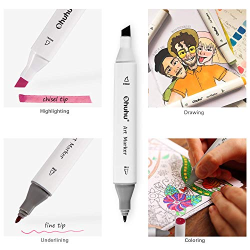 Ohuhu 40-color Alcohol Marker, Dual Tips Permanent Art Markers for Kids, Highlighter Pen Sketch Markers for Drawing Sketching Adult Coloring, Alcohol-based Markers, Back to School Art Supplies