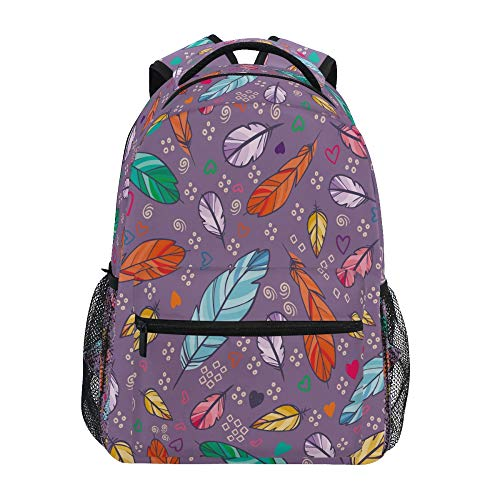 School Backpack ADMustwin Animal Feathers Heart Pattern Travel Shoulders Bookbag Lightweight Waterproof College Laptop Backpack Elementary Large for Girls Boy Woman Man Teens