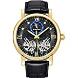 BINSSAW Men Tourbillon Automatic Mechanical Watch Luxury Brand Leather Fashion Casual Stainless Steel Sports Watches for Male (Golden Black)