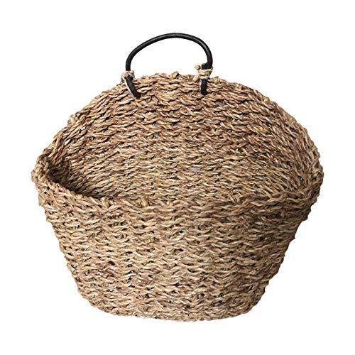 bozitian Cesta de junco marino natural tejida moderna para almacenamiento, lavandería, picnic, maceta, bolsa de playa