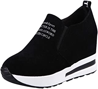 Womens Casual Letter Sport Sneakers Flock Slip-On Thick Platform Wedges Shoes Comfort Walking Loafer Shoes 5-7