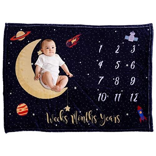 VIVILINEN Bebé Manta Mensual Hito Franela como Fondo Fotográfico para Bebé Recién Nacido con Diferentes Dibujos Regalos para Mamas Embarazadas Baby y Registros de Crecimiento Mensual (Luna)