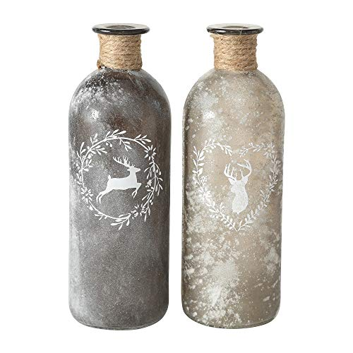 2 x Flaschenvase Hirsch mit Sisalband Glas grau hoch Landhausstil Flasche Vase Tischvasen Glasflaschen Dekoflaschen Väschen Vasen Glasvasen 21x7 cm