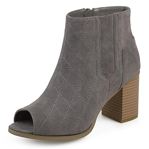 Journee Collection Womens Stacked Heel Open-Toe Heeled Quilted Stitch Booties Grey, 11 Regular US