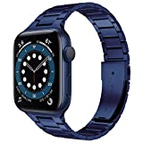 Miimall Banda de Respuesto Compatible con Apple Watch Series 6/SE/5/4/3/2/1 44mm 42mm, Correa Reemplazo de Acero Inoxidable Elegante Pulsera para Apple Watch Series 6/SE/5/4/3/2/1 44mm 42mm - Azul