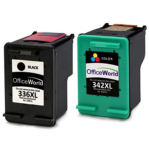 OfficeWorld Remanufactured HP 336 342 Cartuchos de Tinta Compatible para HP Photosmart 2713 2710 2575 C3180 8150 D5160, HP Officejet 6310 6313 6315, PSC 1500, HP Deskjet 5440 5420 5420v 5432