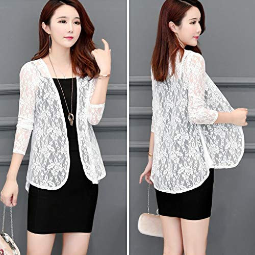 Women Daily Cardigan Sun Shirt Blouse Summer Lace Sunproof Long Sleeve Outwear White L Coats Winter Fall Clothes