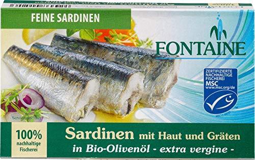 Fontaine Bio Sardinen mit Haut und Gräten in Bio-Olivenöl (6 x 120 gr)