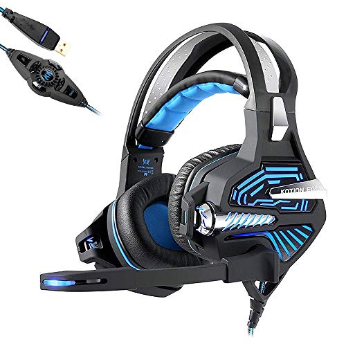 Mengen88 Esports Game Vibratie Headset met 7.1 Surround Sound Stereo 3D Audio LED Glare Over Ear Hoofdtelefoon Ruisonderdrukkende Microfoon, voor PC Laptop