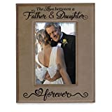 KATE POSH The Love Between a Father & Daughter is Forever Engraved Leather Picture Frame, Father of The Bride, First Father's Day, Birthday Gifts for Dad, Daddy & Me (4x6-Vertical)