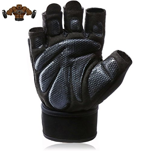 Women's Men's Workout Padded Gloves with Wrist Support,Anti-Slip Silica Gel Grip Gloves for Gym Workout, Cross Training, Weightlifting, Fitness, Cross Training Cycling (L (Fits 7.9-8.6 inches))
