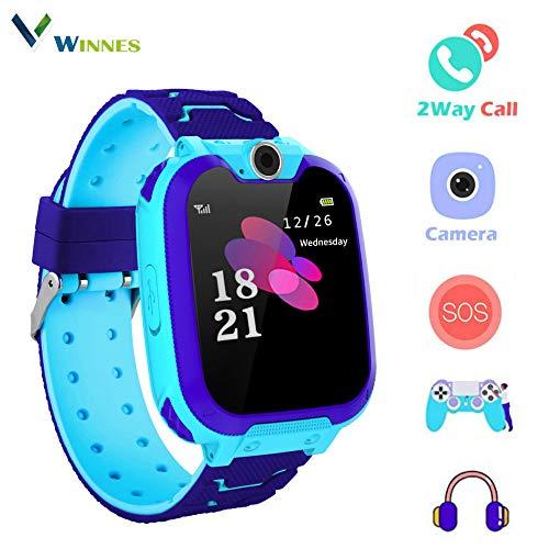 Smart Watch per ragazza, Winnes Niño La Musica e 7 giochi Smart Watch Phone, sveglia a 2 vie per orologio da ragazzo e ragazza 3-12 anni (Blu)
