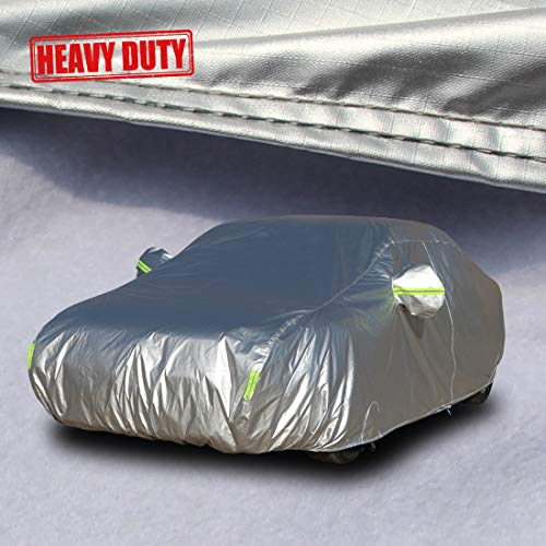 """Shieldo Heavy Duty Car Cover with Windproof Straps and Buckles 100% Waterproof All Season Weather-Proof Fit 201""""-218"""" Length Sedan"""